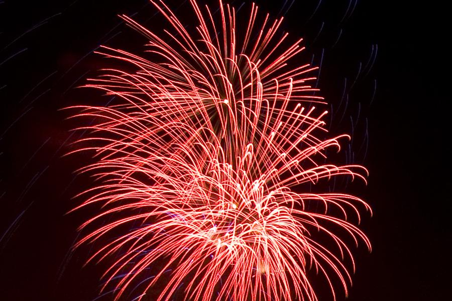 Roter Feuerwerkseffekt