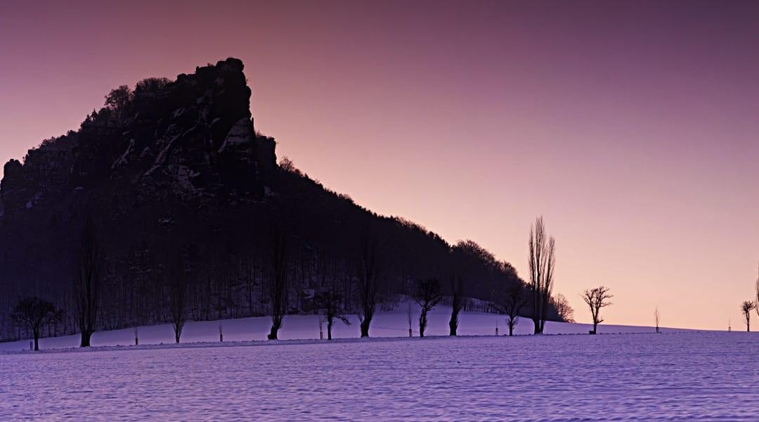 Kalter Wintermorgen am Fuße des Liliensteins