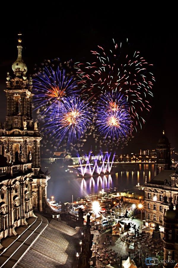 Das Abschlussfeuerwerk zum Dresdner Stadtfest