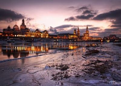 Dresden an einem kalten Wintertag.