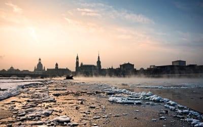 Dresden am Morgen bei -18°C.