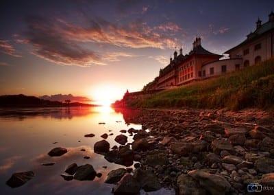 Das Schloß Pillnitz zum Sonnenuntergang