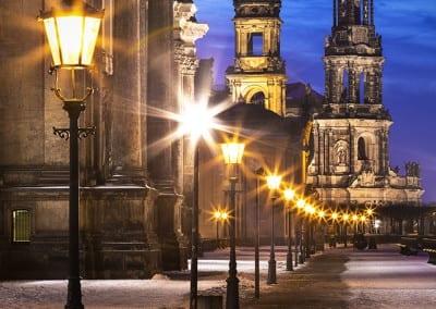 Das Dresdner Terrassenufer im Winter