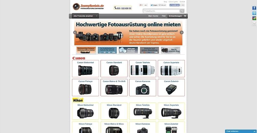 Kameraausrüstung von ZoomyRentals.de