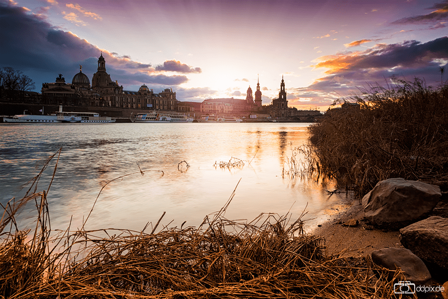 Dresden an einem Winterabend