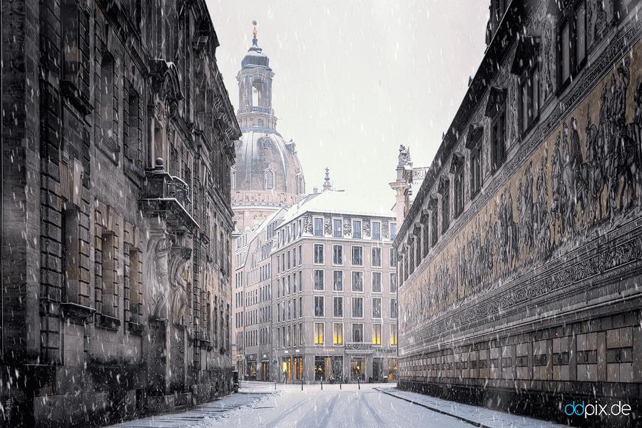 00352 | Die Augustusstraße an einem kalten WIntermorgen
