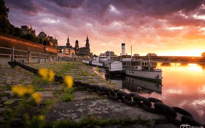 Sonnenuntergang am Dampfer