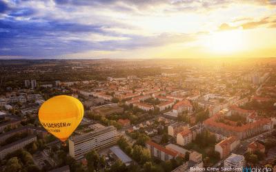 Sonnenuntergang vom Ballon aus gesehen