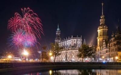 Feuerwerk zum Riverboat Shuffle 2018 in Dresden