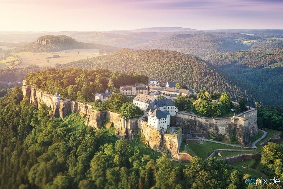 Festung Königstein zum Sonnenaufgang