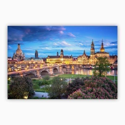 Dresden zur Blauen Stunde Leinwand